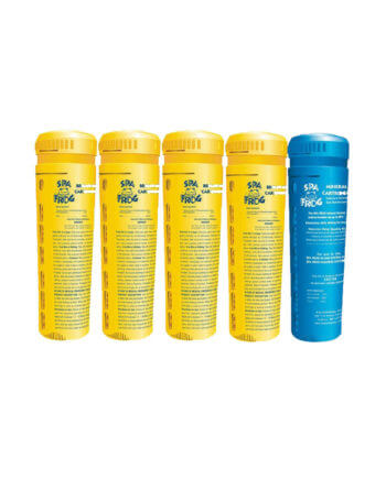 spa frog serene cartridge kit four yellow one blue